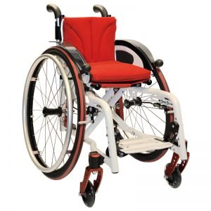 foldable wheelchair for kids and adolescents, Jump alpha, white and red