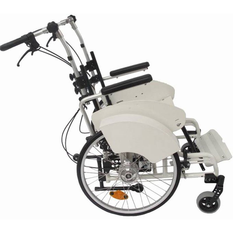 Tiltable wheelchair with special side guards