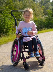 Girl in paediatric wheelchair - Mio from SORG