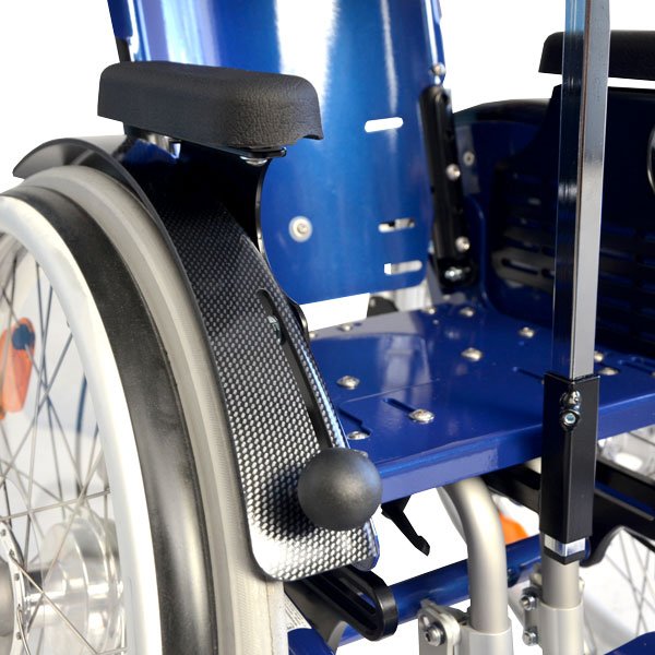 Tiltable wheelchair with height and depth adjustable arm rests