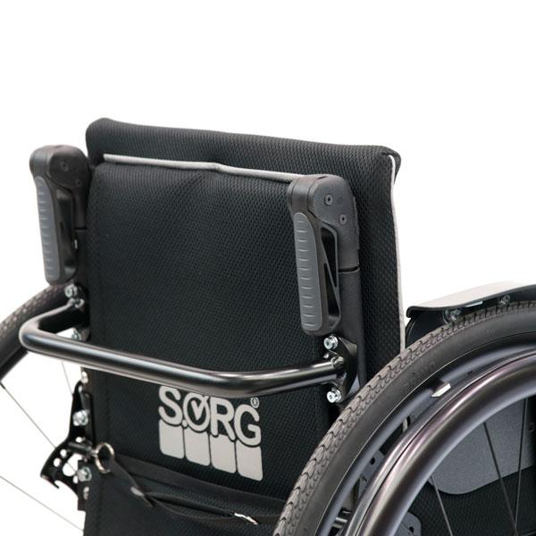 Rollstuhl Airon Rückenbügel abklappbare Schiebegriffe